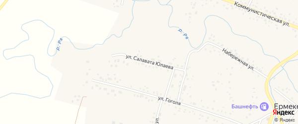 Улица Салавата Юлаева на карте села Ермекеево с номерами домов
