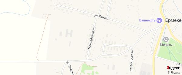 Молодежная улица на карте села Ермекеево с номерами домов
