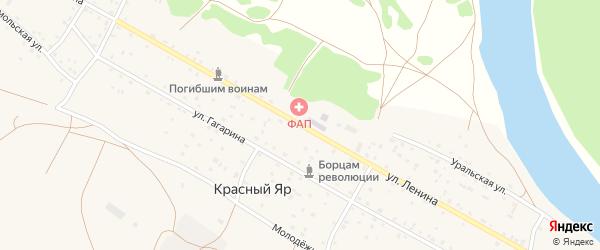 Улица Ленина на карте села Красного Яра Оренбургской области с номерами домов