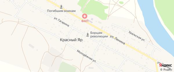 Улица Гагарина на карте села Красного Яра Оренбургской области с номерами домов