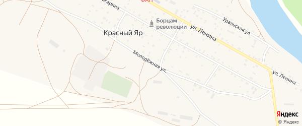 Молодежная улица на карте села Красного Яра Оренбургской области с номерами домов