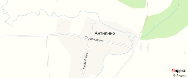 Трудовая улица на карте деревни Антипино Удмуртии с номерами домов