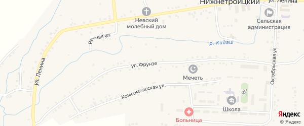 Улица Фрунзе на карте села Нижнетроицкого Башкортостана с номерами домов