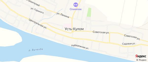 Карта села Усть-Кулом в Коми с улицами и номерами домов