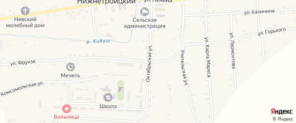 Октябрьская улица на карте села Нижнетроицкого с номерами домов