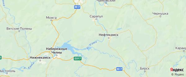 Карта Каракулинского района Республики Удмуртии с городами и населенными пунктами