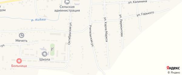 Учительская улица на карте села Нижнетроицкого Башкортостана с номерами домов