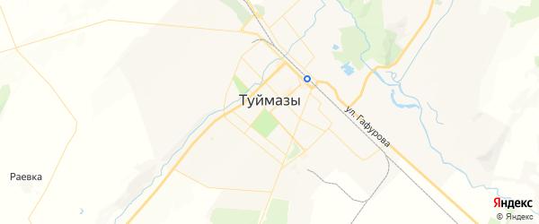 Карта Туймаз с районами, улицами и номерами домов: Туймазы на карте России