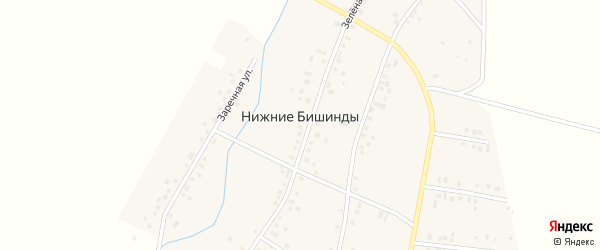 Горная улица на карте села Нижние Бишинды с номерами домов