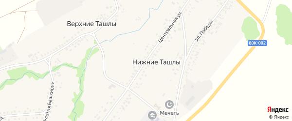 Центральная улица на карте села Нижние Ташлы с номерами домов