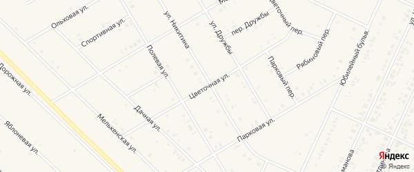 Цветочная улица на карте села Бакалы Башкортостана с номерами домов