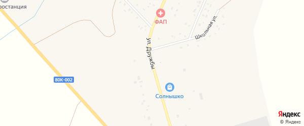Улица Дружбы на карте села Зириклы Башкортостана с номерами домов