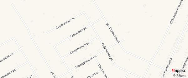 Спортивная улица на карте села Бакалы Башкортостана с номерами домов
