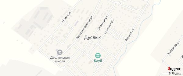 Зеленая улица на карте села Дуслыка Башкортостана с номерами домов