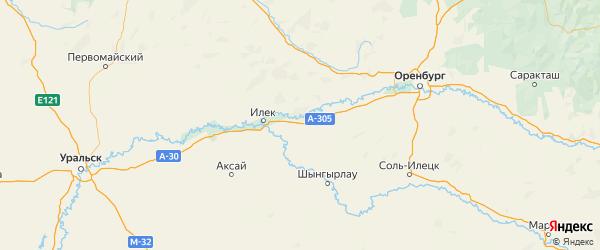 Карта Илекского района Оренбургской области с городами и населенными пунктами