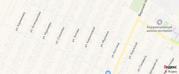 Улица Кирилловой на карте села Бакалы Башкортостана с номерами домов
