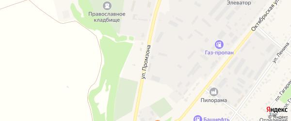Улица Промзона на карте села Бакалы Башкортостана с номерами домов
