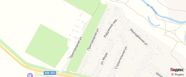 Пригородная улица на карте деревни Нуркеево с номерами домов