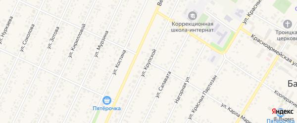 Улица Крупской на карте села Бакалы Башкортостана с номерами домов