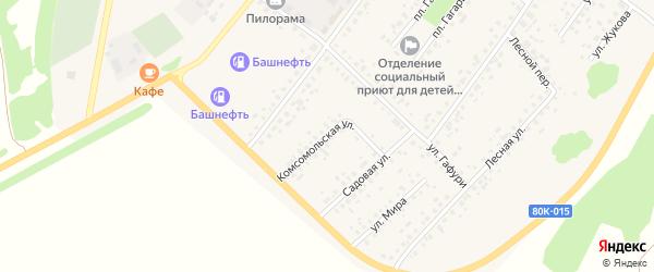 Комсомольская улица на карте села Бакалы Башкортостана с номерами домов