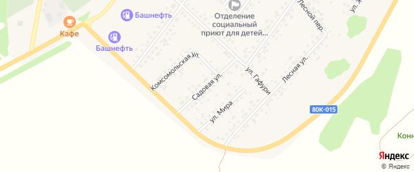 Садовая улица на карте села Бакалы Башкортостана с номерами домов