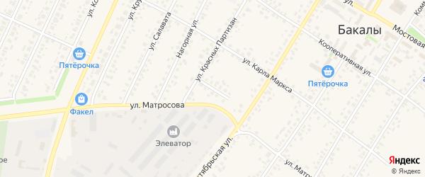 Хлебная улица на карте села Бакалы Башкортостана с номерами домов
