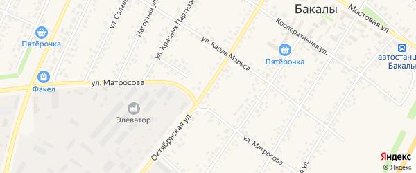 Октябрьская улица на карте села Бакалы Башкортостана с номерами домов