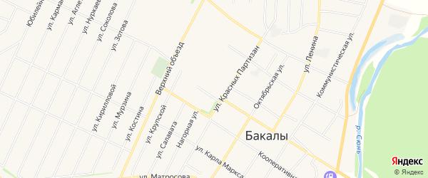 Карта села Бакалы в Башкортостане с улицами и номерами домов