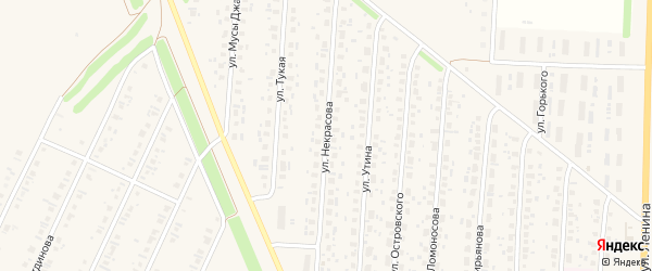 Улица Некрасова на карте села Бакалы Башкортостана с номерами домов
