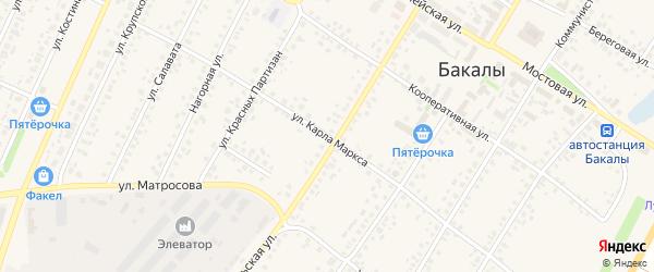 Улица К.Маркса на карте села Бакалы Башкортостана с номерами домов