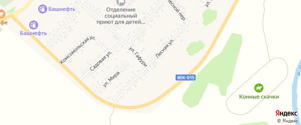 Лесная улица на карте села Бакалы Башкортостана с номерами домов