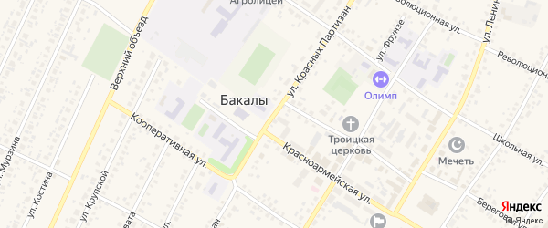 Улица Красных Партизан на карте села Бакалы Башкортостана с номерами домов