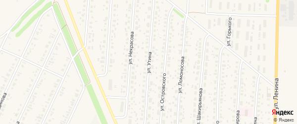 Улица Утина на карте села Бакалы Башкортостана с номерами домов