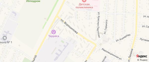 Площадь Ворошилова на карте села Бакалы Башкортостана с номерами домов