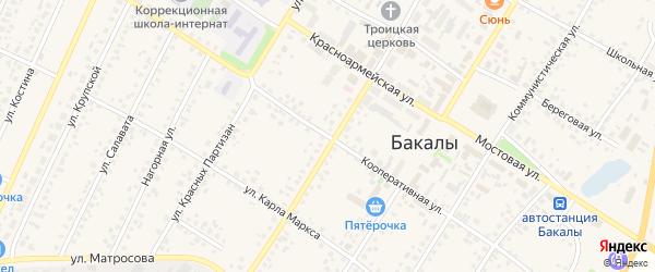 Кооперативная улица на карте села Бакалы Башкортостана с номерами домов