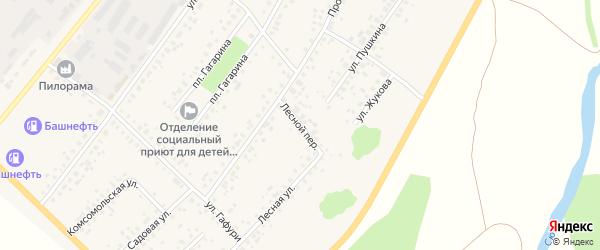 Лесной переулок на карте села Бакалы Башкортостана с номерами домов