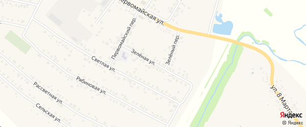 Зеленая улица на карте деревни Нуркеево с номерами домов