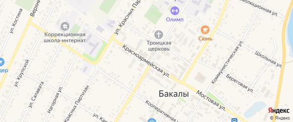 Красноармейская улица на карте села Бакалы Башкортостана с номерами домов
