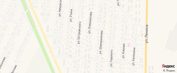 Улица Ломоносова на карте села Бакалы Башкортостана с номерами домов