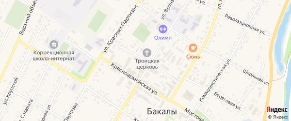Советская улица на карте села Бакалы Башкортостана с номерами домов