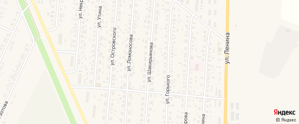 Улица Шакирьянова на карте села Бакалы Башкортостана с номерами домов