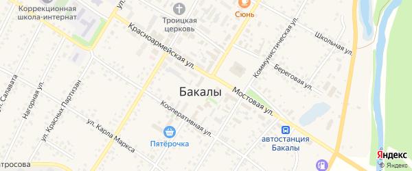 Улица Ленина на карте села Бакалы Башкортостана с номерами домов