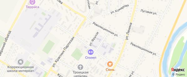 Улица Фрунзе на карте села Бакалы Башкортостана с номерами домов