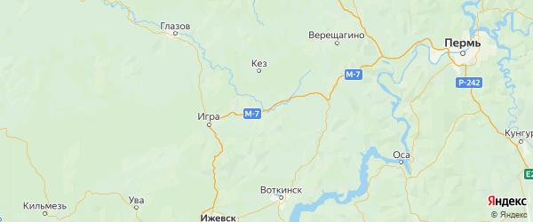Карта Дебесского района Республики Удмуртии с городами и населенными пунктами