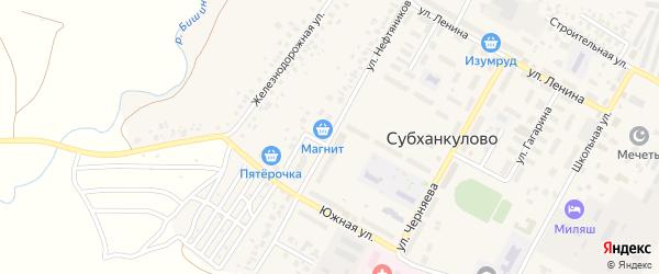 Улица Нефтяников на карте села Субханкулово с номерами домов