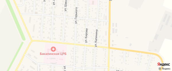Улица Кирова на карте села Бакалы Башкортостана с номерами домов