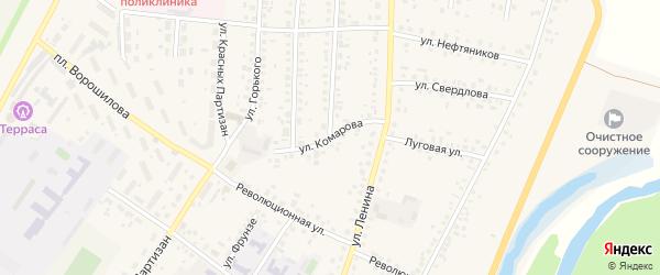 Улица Комарова на карте села Бакалы Башкортостана с номерами домов