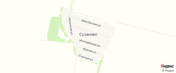 Карта села Сузаново в Оренбургской области с улицами и номерами домов
