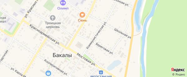 Коммунистическая улица на карте села Бакалы Башкортостана с номерами домов
