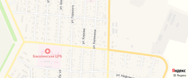 Улица Калинина на карте села Бакалы Башкортостана с номерами домов